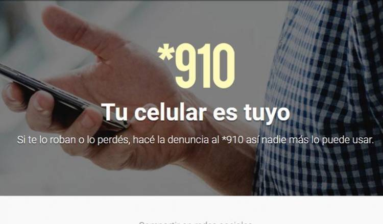 Se recuerda a usuarios de celulares, en caso de extravío o robo, llamar al *910