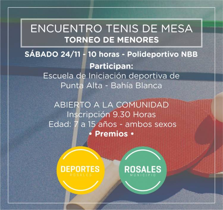 Habrá un torneo de Tenis de Mesa en Polideportivo de Nueva Bahía