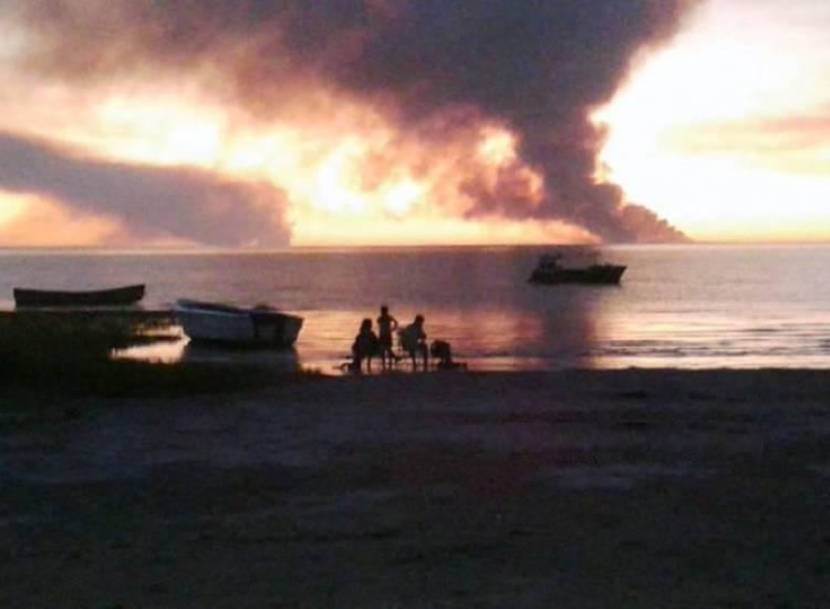El fuego en Ascasubi que se vio en toda la zona
