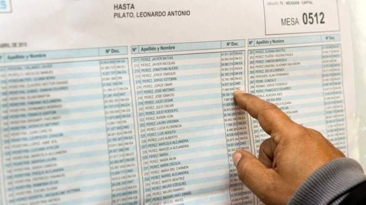Está disponible el padrón que se utilizará en las elecciones del 11 de agosto