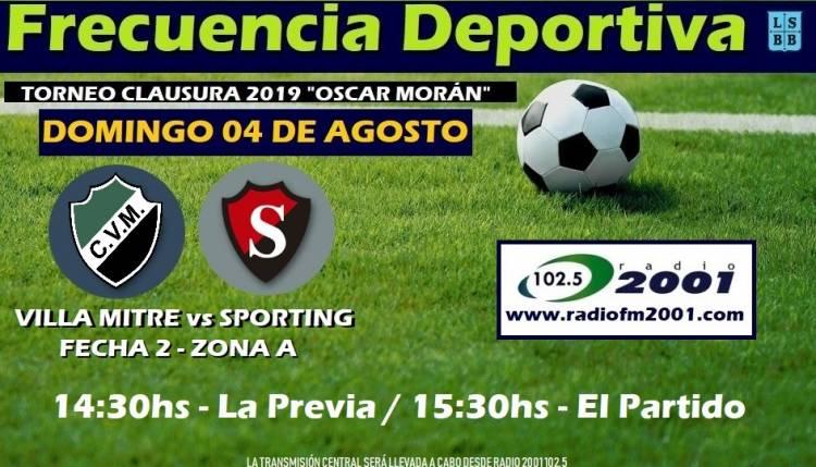 Liga del Sur: El partido entre Villa Mitre y Sporting lo vivís por Radio 2001 102.5