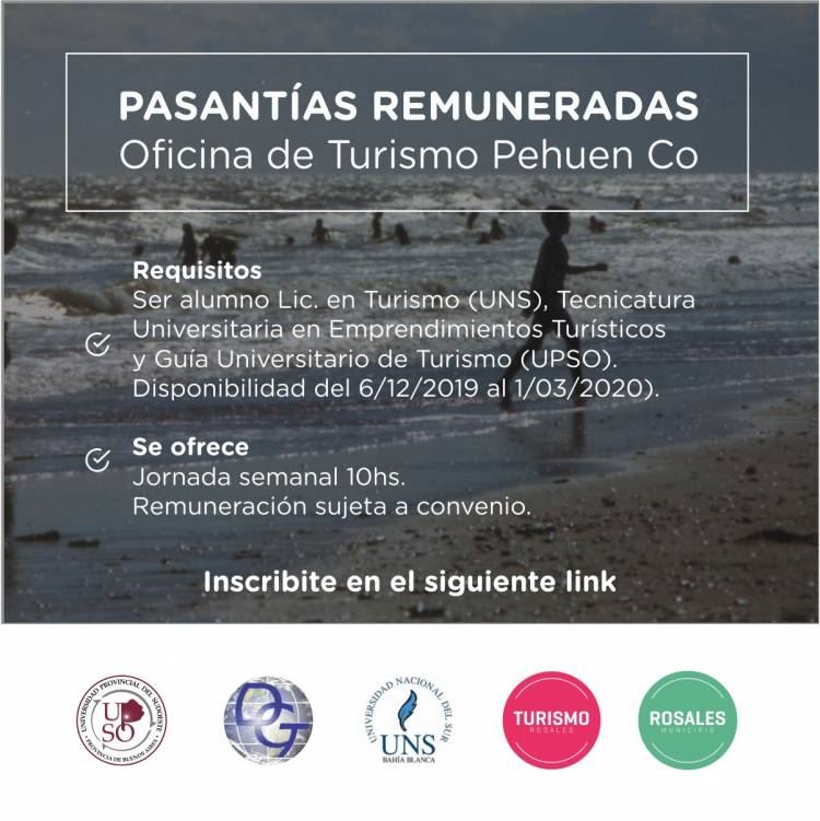 Pehuen Co: Se ofrecen pasantías remuneradas para la Oficina de Turismo