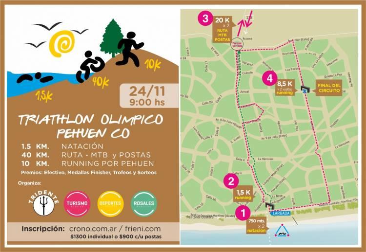 Se correrá un Triatlón Olímpico en Pehuen Co el 24 de noviembre