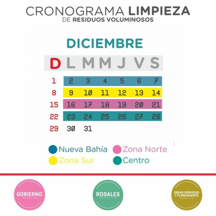 Cronograma de recolección de voluminosos para el mes de diciembre