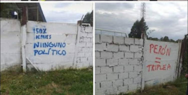 La Agrupación Marco Ruperez repudió las pintadas en el paredón del Club Rosario Puerto Belgrano