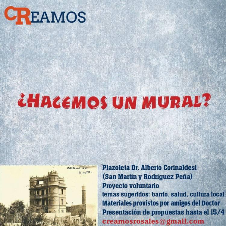 Creamos Rosales abrió la convocatoria para realizar un mural en la Plaza Corinaldesi