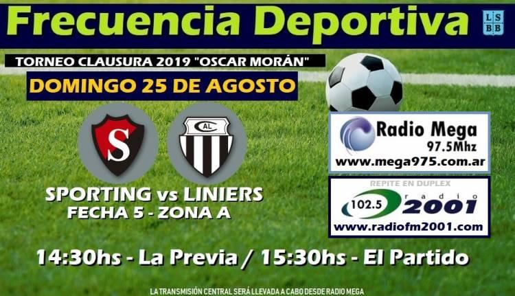 Liga del Sur: Juega Sporting frente a Liniers y lo podés escuchar por el 102.5