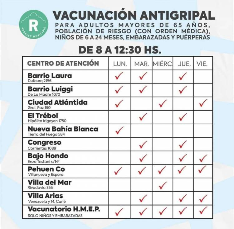 Este jueves comienza la vacunación antigripal en Coronel Rosales