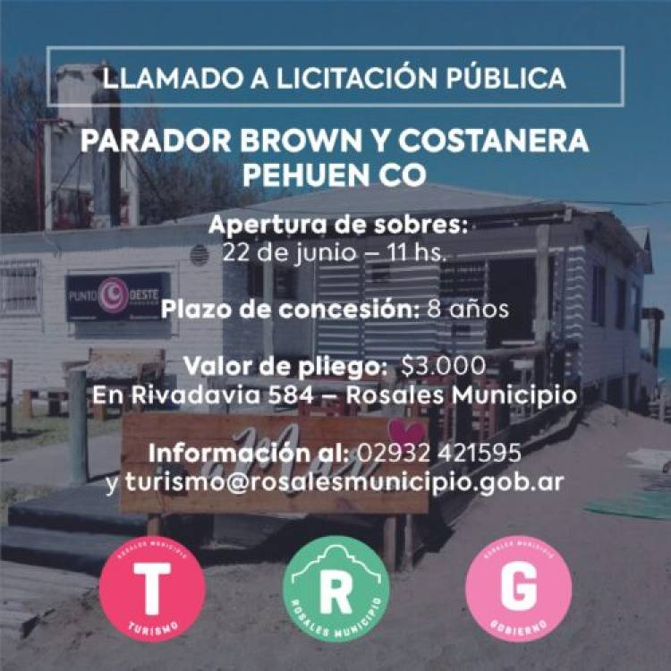 El Municipio llama a Licitación para explotación del parador de Brown y Costanera en Pehuen Co